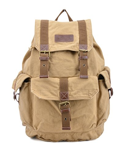 Canvas Khakis - Gootium 21101KA Specially High Density Thick Canvas Backpack Rucksack,Khaki