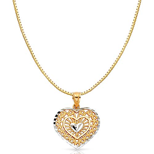 14K Two Tone Solid Gold Fancy Inside Heart Charm Pendant with 1mm Box Chain Necklace - 16