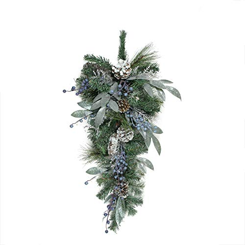 """Northlight Mixed, Berries and Snowy Pine Cones Artificial Christmas Teardrop Swag -Unlit, 28"""", Blue"""