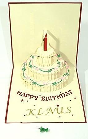 Beautiful New Convertible Greeting Card Cake Name Card Klaus Gold