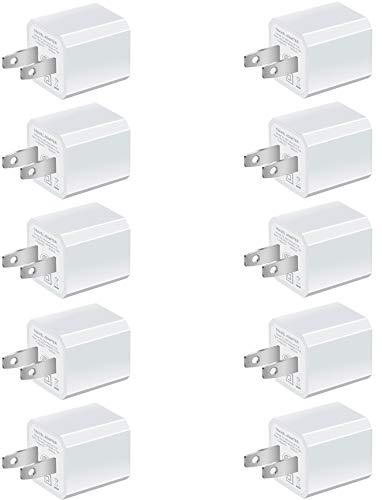 Boost Chargers 5W USB Power Adapter [10-Pack] Wall Charger 1A Cube for Plug Outlet Compatible for iPhone 8 / X / 7 / 6S / Plus +, iPad, Samsung Galaxy, Motorola, HTC, Other Smartphones (White)
