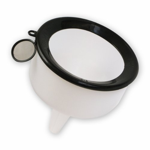 WirthCo 90190 Funnel King White Polyethylene Side Fill Funnel with Anti-Splash Ring - 144 oz. Capacity ()