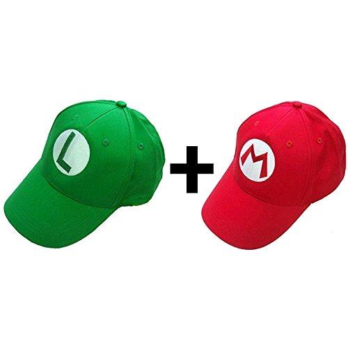 Hotshopping Super Mario Bros Luigi Green Hat Cosplay Baseball Cap Red and Green