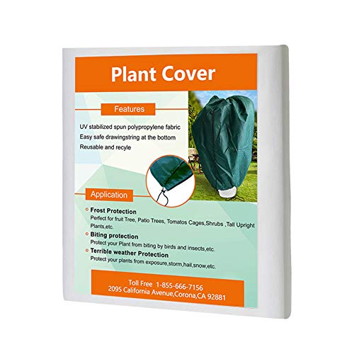 "Agfabric Plant Cover Warm Worth Frost Blanket – 1.5 oz Fabric of 72""x84"" Shrub Jacket,3D Dome Plant Cover with Double Drawstrings for Season Extension&Frost Protection,Dark Green"