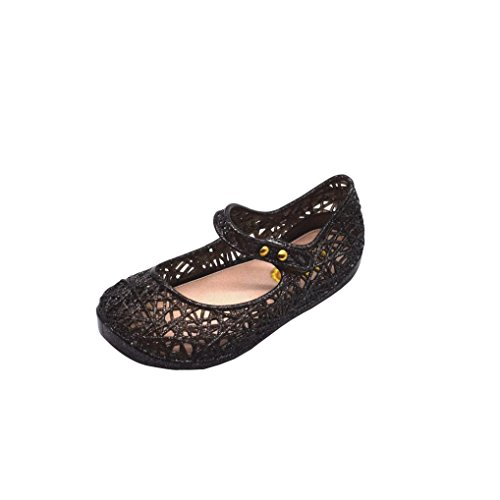 Price comparison product image Kimloog Toddler Baby Kids Girls Cute Jelly Hollow Sandals Soft Sole Anti-Slip Flat Princess Shoes (Black,  4 M US Toddler)