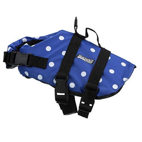 Seachoice 86270 Adjustable Polyethylene Dog Life Vest, with Grab Handle, Blue Polka Dot, Size XS, 7 to 15 ()
