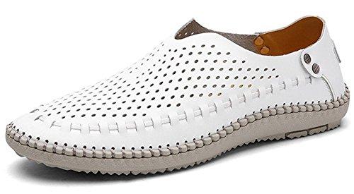 Mens Chaussures En Cuir Véritable Mocassins Été Plage Glisser Sur La Marche Des Chaussures De Conduite Par Jiye Trou Blanc