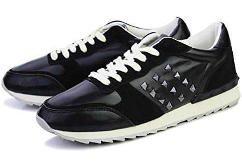 CSDM Uomini Nuovi sport di moda di svago Passeggiare Scarpe casuali Oro Bianco Nero Verde , black , 44