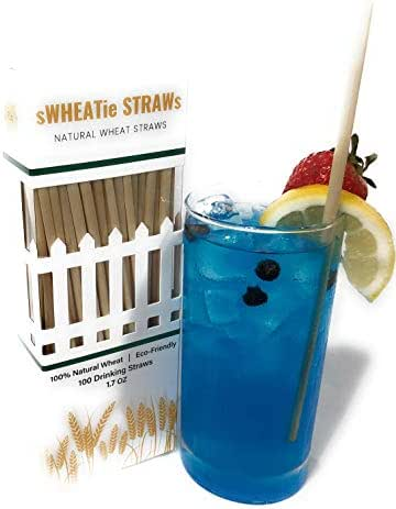 Natural Wheat Hay Drinking Straws - Tall 100 Pack, Single-use, Compostable, Disposable, Biodegradable and Eco-Friendly. A Great Alternative to Plastic, Paper, Silicone, Metal, or Bamboo.