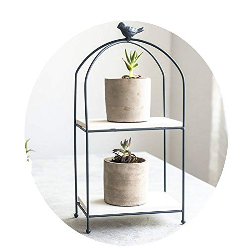 Janicestyle 2 Tier Metal & Wood Plant Stand Flower Pot Holder Display,Decorative Planter Shelf,Desktop Storage Shelves Organizer Rack,Cupcake Stand-Wedding Home Decor in Box, for Succulents, Cacti, He -