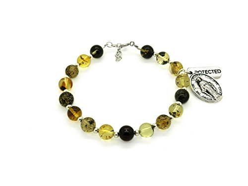 Genuine Green Amber Strand Bracelet with Medallion and Protected Charm.