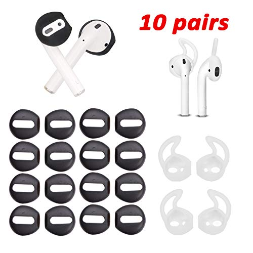 luakesa 10 Pairs Fit in The Case Replacement Airpods Covers Earbuds Ear Hooks for Airpods 1 2,Earpods(White/Black) (Black)