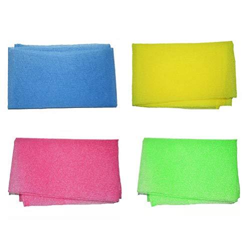 Healifty Toalla de baño Exfoliante para restregar frotador 4 Piezas (Amarillo, Verde, Azul y Rosa)
