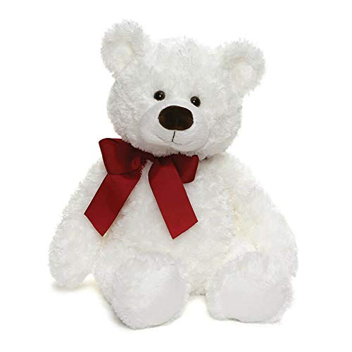 (GUND Valentine's Day Hart Teddy Bear with Red Bow Stuffed Animal Plush, White, 18