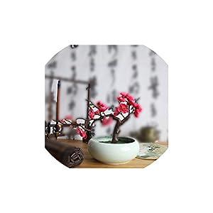 Artificial Plants,Classical Artificial Flower Garden Plum Blossom Peach Flower Home Garden Wedding Bonsai Tree Branches DIY Decor Wedding,Rose Red 119