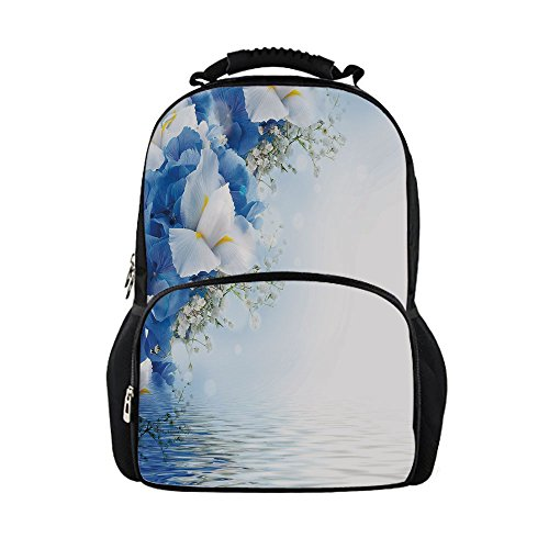 Dreamy Hydrangea (iPrint Kids School Bag Light Blue,Blue Hydrangeas White Irises over The Sea Romantic Bouquet Dreamy,Blue Light Blue White Girls boys)