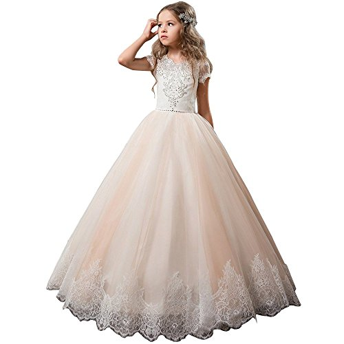 Flower Girl Dress Kids Lace Beaded Pageant Ball Gowns Blush Pink Size 8