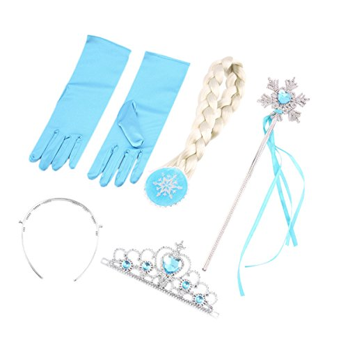 JUMP Snow Queen Princess Tiara Snowflake Wand Braid Hair Piece and Blue Gloves Set