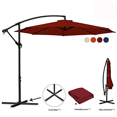JEAREY Patio Umbrella 10 Ft Offset Cantilever Umbrellas Outdoor Market Hanging Umbrella & Crank with Cross Base, 8 Ribs (Red) by JEAREY