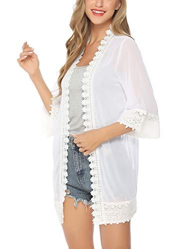 Aibrou Womens Lace Cardigan Cover Ups Beachwear Cotton Lace Cardigan X-Large White