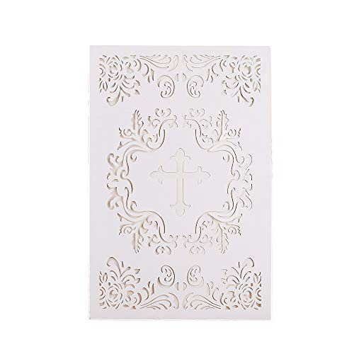 Invitations Religious Printable (25PCS Elegant Baptism Invitations, Large 4.7 x 7 Cards Fill In Blank Christening Invite,with Ivory Inside Paper for Christening Party Celebration, Religious Ceremony, Christian Dedication (White))