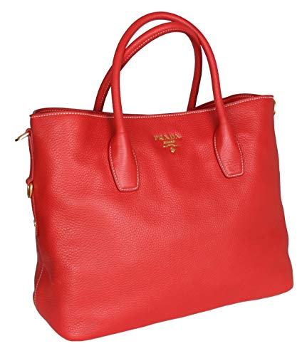 Prada Women's BN2317 UWL F0011 Red Leather Shopper