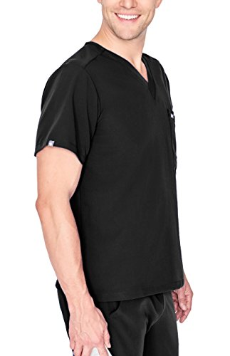 (FIGS Medical Scrubs Men's Leon Two-Pocket Scrub top (Black, S))