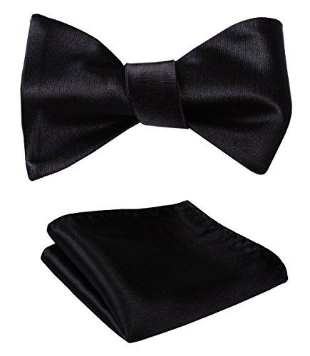 Jacquard Wedding Party Self Bow Tie Pocket Square Set Pure Black (Jacquard Bow)