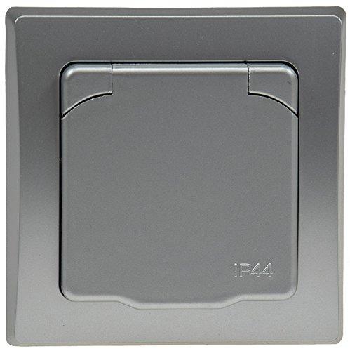 mit Klapp Deckel UP Rahmen 250V~// 16A silber DELPHI Schutzkontakt-Steckdose IP44 inkl
