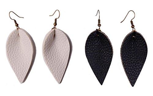 L&N Rainbery 2 Pairs Petal Leather Earrings Faux Leather Teardrop Earrings Leaf Drop Earrings (White+Black) 2 White Leather Earring
