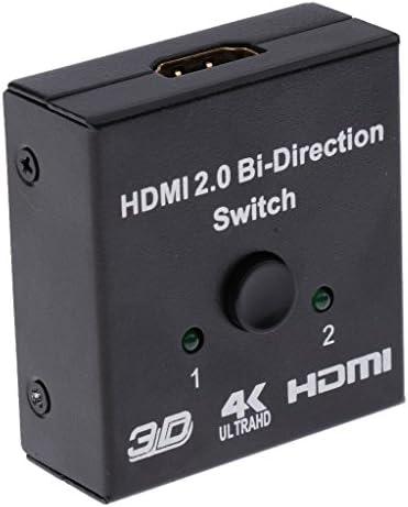 双方向スイッチ メタル HDMIスイッチ スマート スイッチャー スプリッタ ハブ サポート 2x1 1x2 3D 4K
