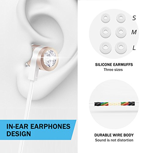 Earbuds with Microphone, LUXEAR In-ear Stereo Headset Earphones with Remote Control Clear Sound, Noise-isolating, Ergonomic Comfort-fit, for All Apple Android Smartphone(Gold)