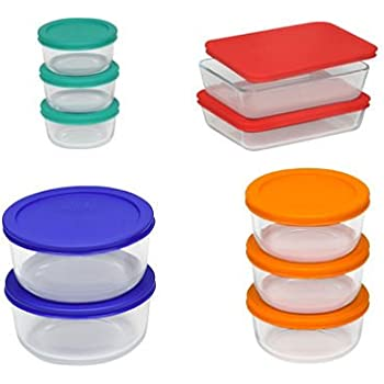 Pyrex Storage Set, Clear, Red, Orange, Blue, Green(20 Pieces)