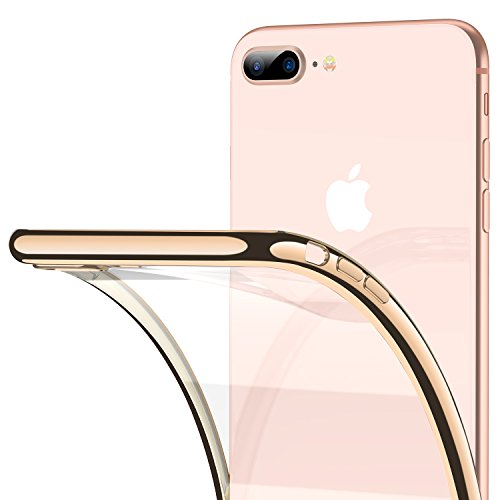 iPhone 8 Plus Case, iPhone 7 Plus Case, RANVOO Ultra Slim Thin Clear Case with Premium Flexible Bumper and Transparent TPU Back Plate Protective Cover for iPhone 8 Plus/7 Plus (Gold)