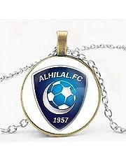 سلسال فضي بقلادة دائرية بلون برونزي بتصميم شعار نادي الهلال السعودي - للجنسين