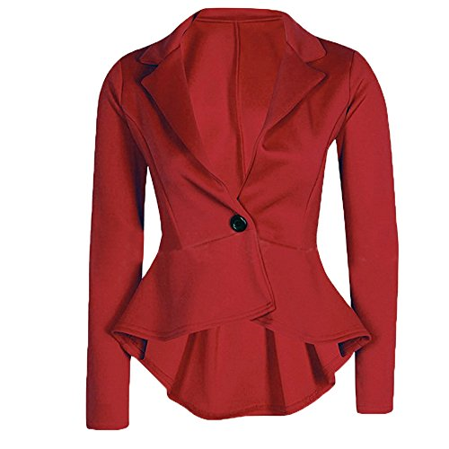 Cekaso Women's Long Sleeve Blazer Single Button Front Plain Peplum Frill Blazer Coat, Red, USsizeM=TagsizeXXL]()