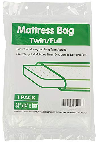 "TopGreen Mattress Bag Twin/Full Size Mattress Storage Bag Mattress Disposal Bag 54"" x 14"" x 100"" Clear"