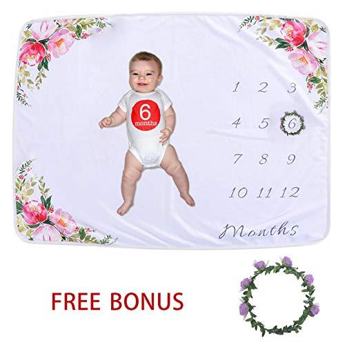 Softan Baby Monthly Milestone Blanket Girl Boy | Soft Photography Background Growth Blanket with Bonus Floral Wreath | Baby Month Blanket | Newborn Girls Boys Photo Prop | Baby Shower Gift