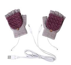 8F58 USB Heated Warm Gloves Half Finger Winter Heating Knitting Mittens Black
