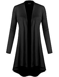 BILY Women's Open Front Lightweight Jersey Classic Long Sleeve Cardigan
