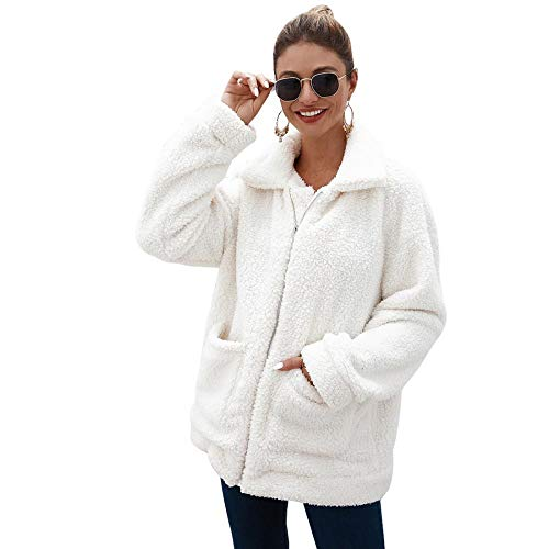 Women Faux Fur Cardigan Fashion Long Sleeve Fleece Jacket Casual Lapel Shearling Shaggy Coat (White,US M=Tag L)