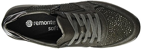 Remonte Women's R7008 Low-Top Sneakers, Steel/Asche/Altsilber/42, 5 UK Grey (Steel/Asche/Altsilber / 42)