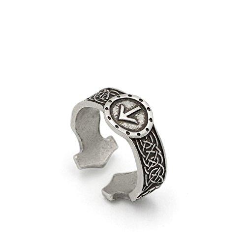 TTKP GuoShuang Norse Viking Rune Rings Adjustable Rings for Men Amulet Runic Nordic Ring Punk Gothic Jewelry
