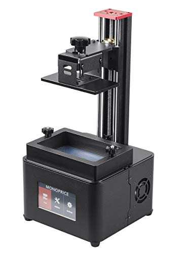Monoprice Mini Deluxe SLA Resin UV 3D Printer With (120 x 70 x 200 mm) Build Area, Ultra High Resolution, LCD Touch Screen Display + Free 250ml Red Photopolymer Resin