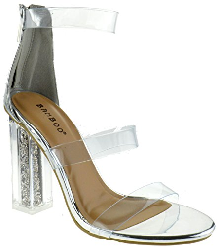 Outburst 01M Womens Clear Chunky Glitter Heel Ankle Buckle Platform Sandals Silver 7