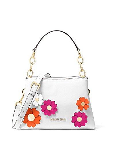 Michael Kors Portia Small East West Flora Applique White Leather Satchel Bag