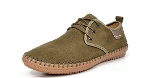 BRUNO MARC MODA ITALY 8803 Men's Classic Fashion Handmade Casual Suede Leather Comfort Oxford shoes Khaki Size 9.5