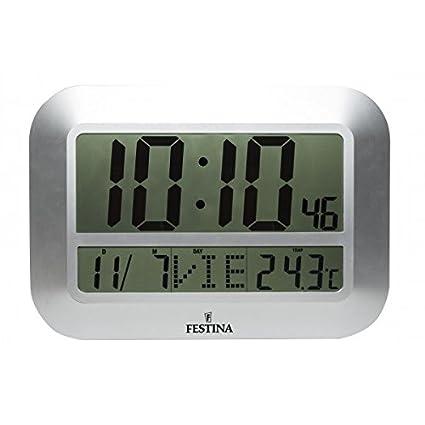 Festina - Reloj digital de pared o sobremesa FD0064 - Plata