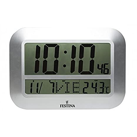 Festina - Reloj Digital de Pared o sobremesa FD0064 - Plata: Amazon.es: Hogar