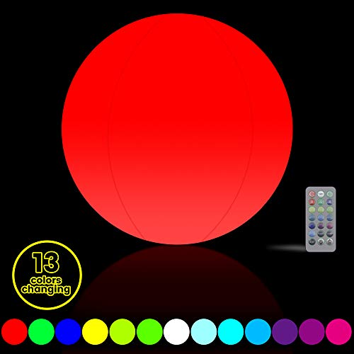 Led Pool Balls (Glow Party Decorations 16'' LED Light Up Beach Ball 13 Colors Changing with Remote Controller, Great Pool Party Garden Halloween Xmas)
